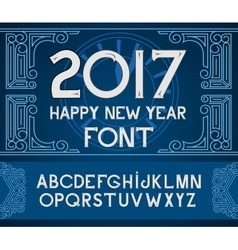 Happy New Year 2017 hand-lettering text on blue vector image