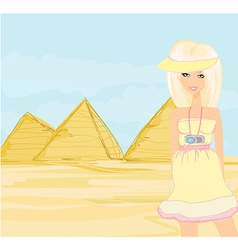 Happy tourist visits the Pyramids vector image