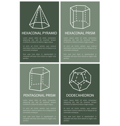 hexagonal pyramid and prism dodecahedron drawings vector image