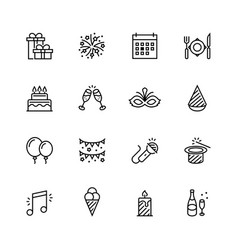 holiday icon set in thin line style vector image