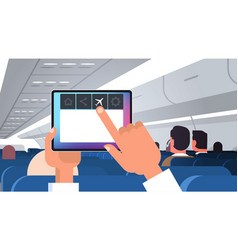 human hand holding tablet pc with flight mode vector image