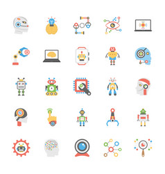 Icons pack of artificial intelligence in flat desi vector
