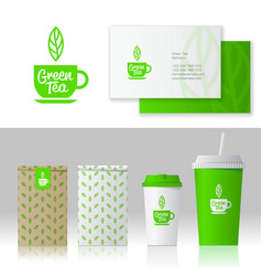Identity green tea logo style mockup packages vector