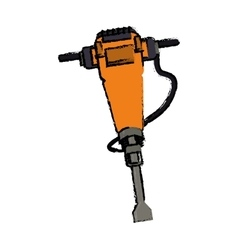 Jackhammer construction tool design drawing vector