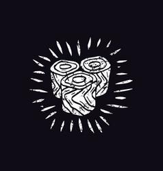 japanese food in linocut style vector image