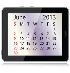 June 2013 calendar vector