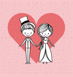 Just married happy vector