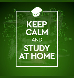 Keep calm and study at home vector