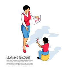 kindergarten learning isometric vector image