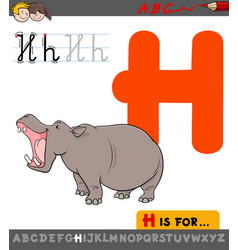 Letter h with cartoon hippopotamus vector