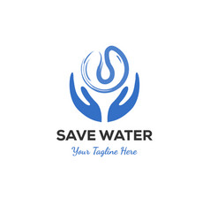 logo concept save water vector image