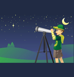 looking at stars with telescope vector image