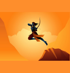 Lord rama using bow and arrow vector
