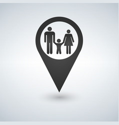 map pointer with a family vector image