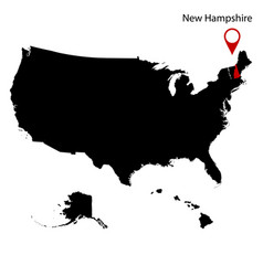 Map us state new hampshire vector