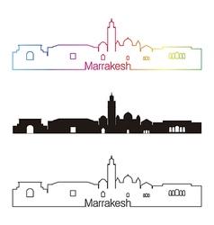 Marrakesh skyline linear style with rainbow vector image