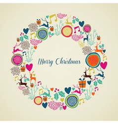 Merry Vintage christmas elements wreath vector