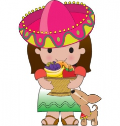 mexican girl and dog vector image vector image