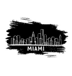 Miami usa skyline silhouette hand drawn sketch vector