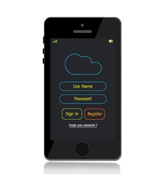 Mobile phone cloud LOGIN vector image
