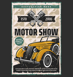 Motor show and restoration retro poster vector