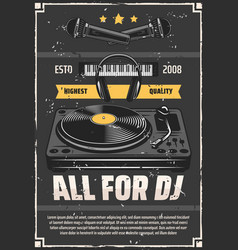 music shop dj studio equipment grunge poster vector image