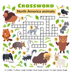 North america animals crossword game for kids vector