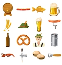 Oktoberfest icons set in cartoon style vector image