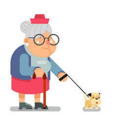 old people activities grandmother walk dog vector image