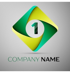 One number colorful logo in the rhombus template vector