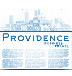 Outline providence rhode island city skyline vector