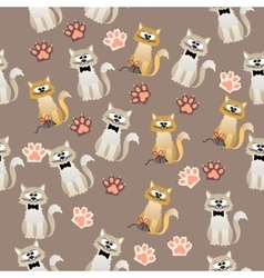 pattern with cute cats vector image