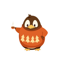Penguin in sweater with hot coffee cup vector