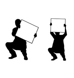 People holding panels in a crouch position vector