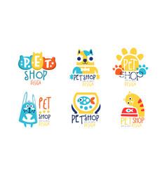 pet shop original label design set vector image