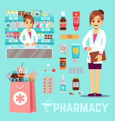 Pharmacy elements with female pharmacist vector