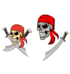 Pirate skull with sharp sabers vector