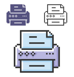 pixel icon printer in three variants fully vector image