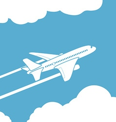 Plane silhouette against the sky with clouds vector image