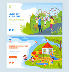playground at park for children website text set vector image