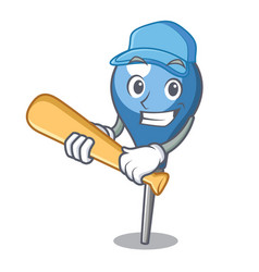 playing baseball clyster character cartoon style vector image