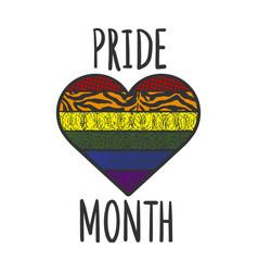 pride month rainbow heart line art sketch vector image