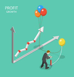 Profit growth flat isometric concept vector