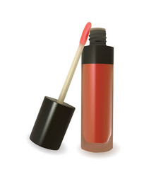 red lip gloss on white background vector image