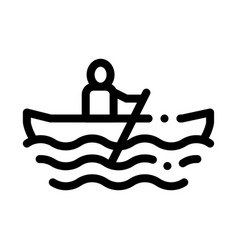 Rowing boat canoeing icon vector