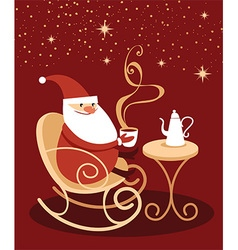 Santa Claus drinking hot chocolate vector image