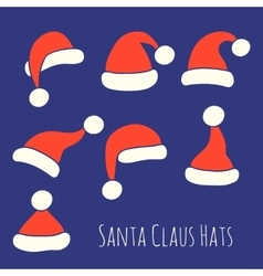 Santa Claus Hats Set vector