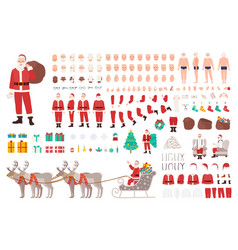 Santa clause constructor or diy kit collection of vector