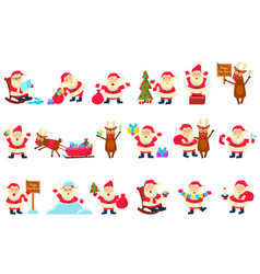 Santa clauses set funny cartoon characters in vector