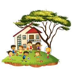 Scene with children play at home vector